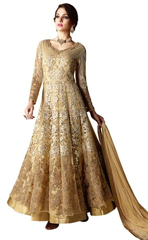 Embroidered Net Yellow Anarkali Suit