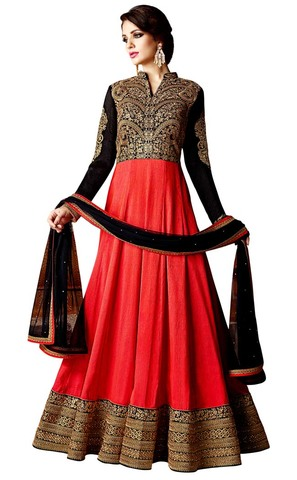 Crimson and Black Georgette Anarkali Suit