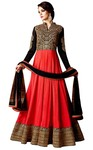 Crimson and Black Georgette Anarkali Suit