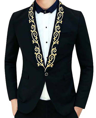 Mens Black Polyester 3 Pc Tuxedo Suit Golden Embroidery