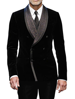 Mens Black Velvet 5 Pc Tuxedo Suit Double Breasted