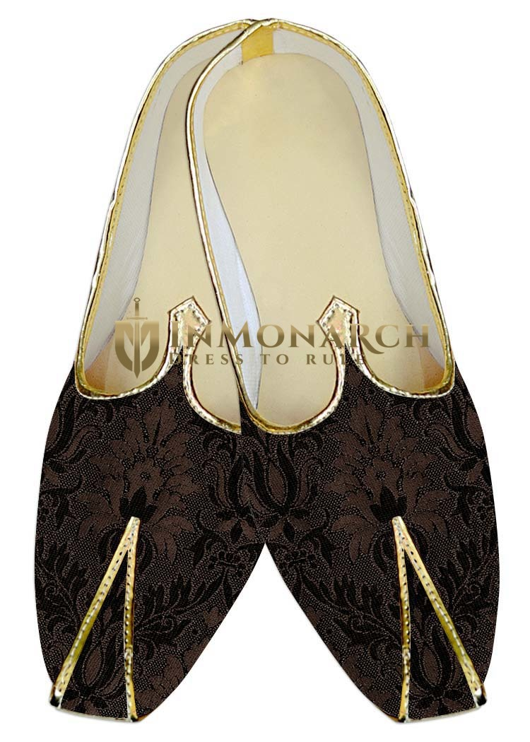Indian Wedding Shoes For Men Brown Shoes Flower Design Traditional Shoes
