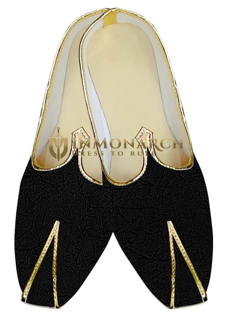 TraditionalShoes For Men Black Wedding Shoes Self Design Indian MensShoes