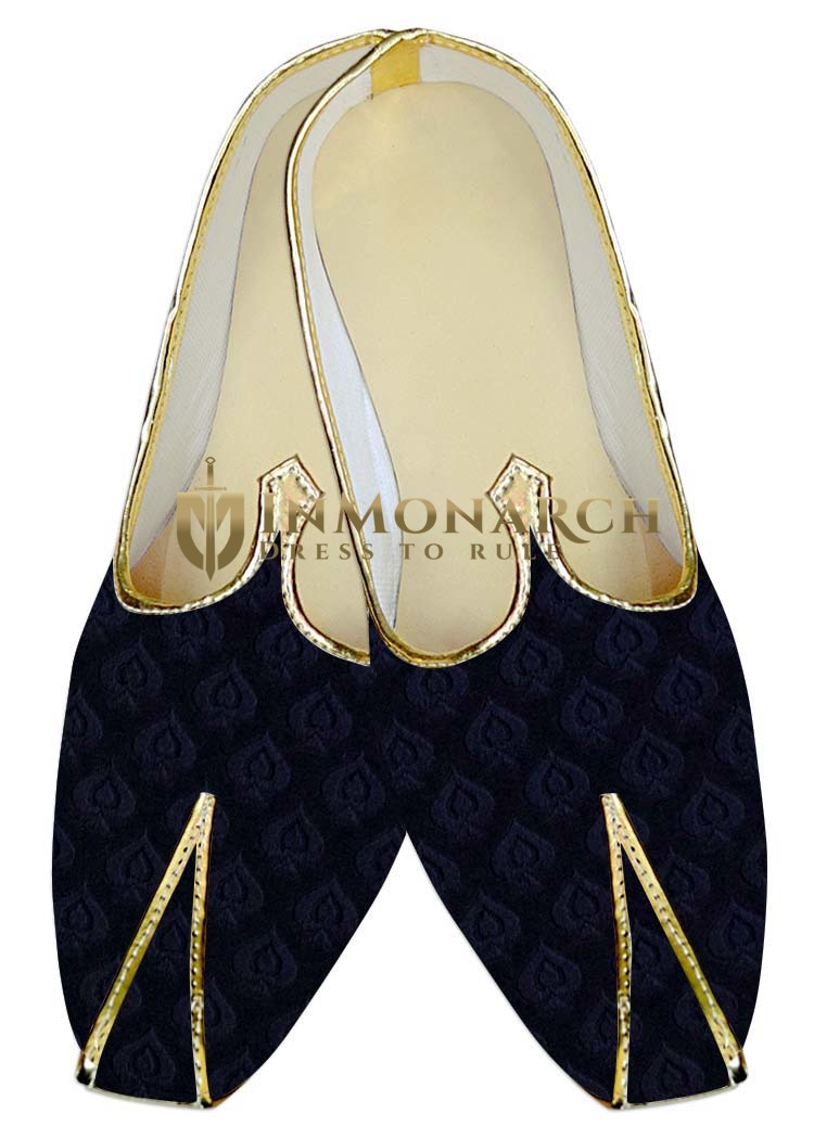 Indian Mens Shoes Navy Blue Wedding Mens Juti Shoes Leaf Pattern