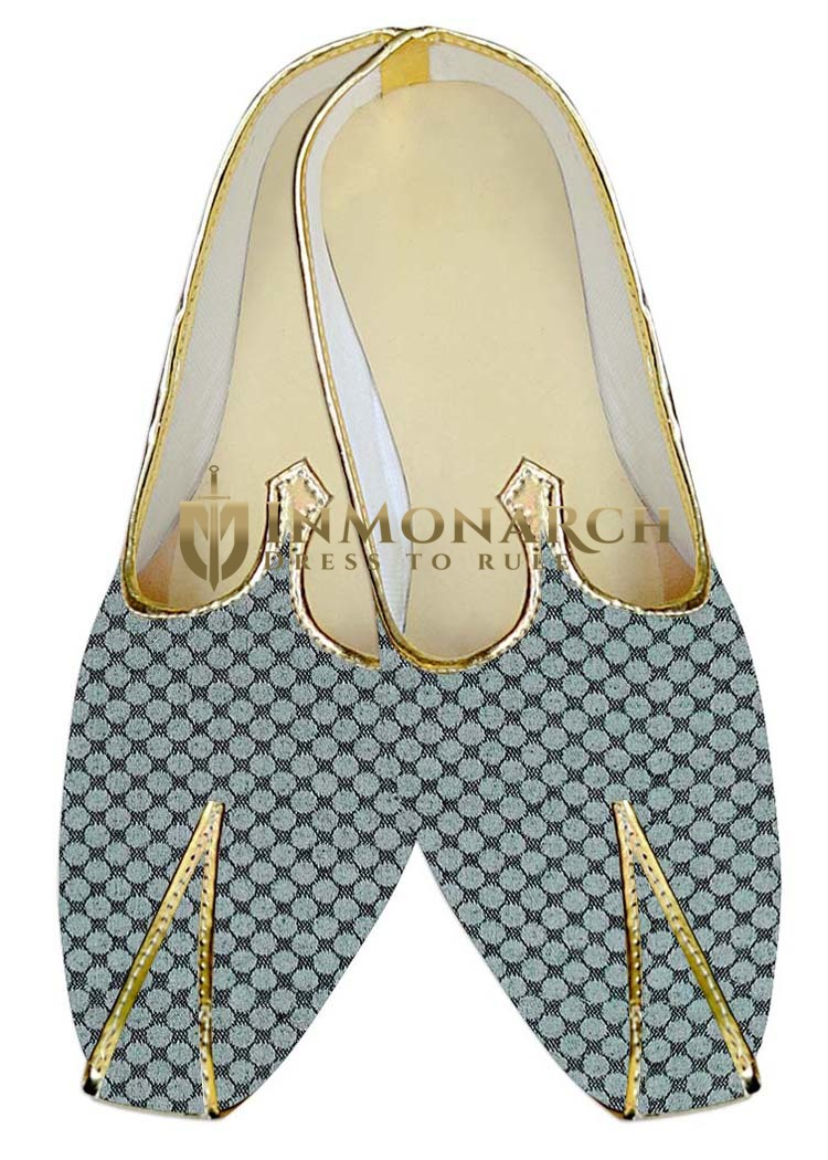 Indian Wedding Shoes For Men Sky Blue Traditional Wedding Shoes Polka Design