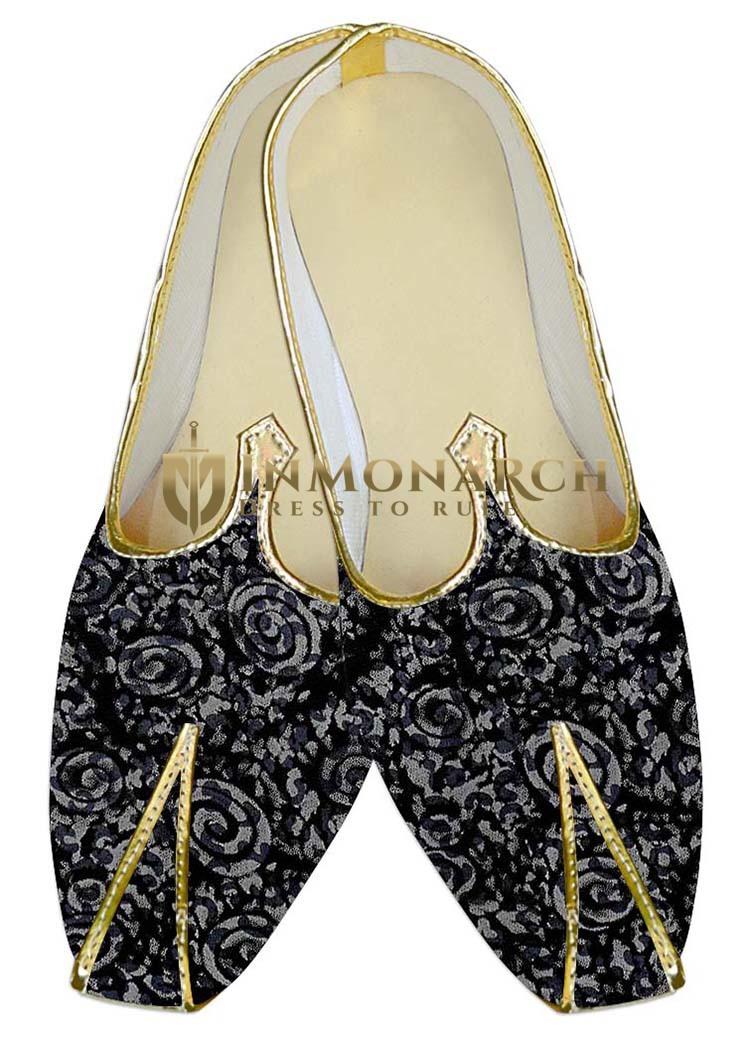 Indian MensShoes Black Wedding Shoes Mens Juti Silver Designs