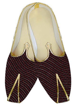Mens Juti Wine Wedding Shoes Checks Pattern Sherwani Shoes