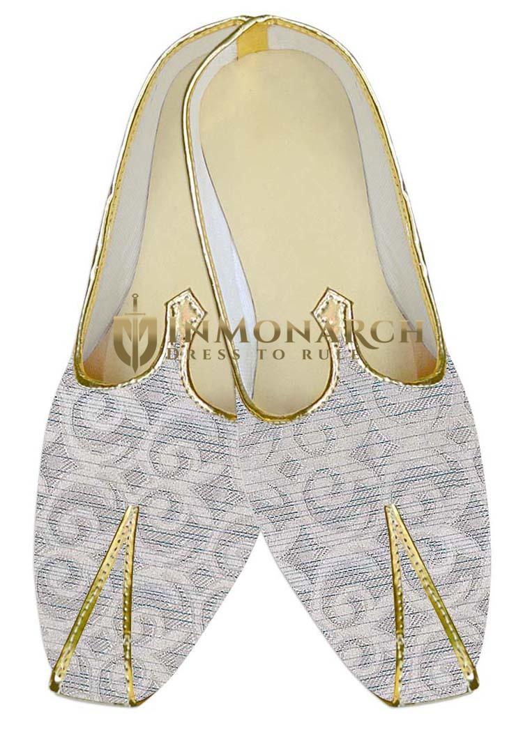 Mens Sherwani Shoes Cream Wedding Shoes Flower Design Juti ForMen