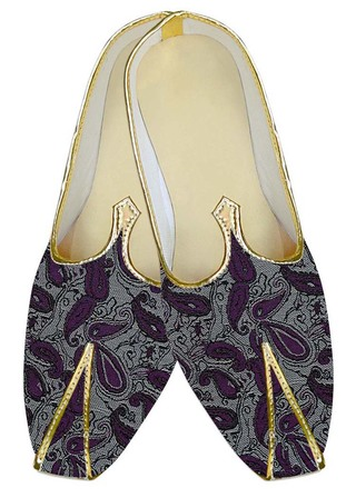 Mens Indian Bridal Shoes Silver Wedding Shoes Purple Paisley