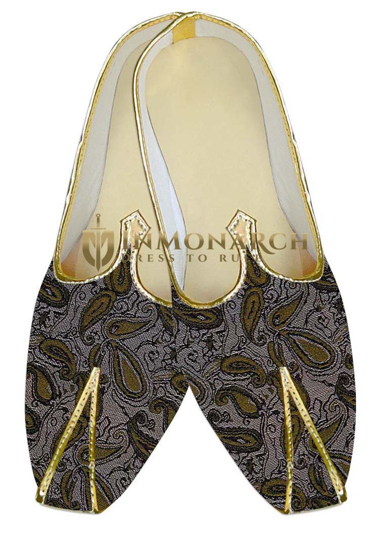 Mens Wedding Shoe For Groom Almond Wedding Shoes Olive Paisley