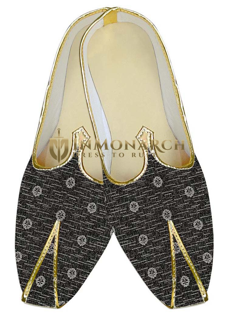 Mens Indian Bridal Shoes Gray Wedding Juti White Flower Indian Wedding