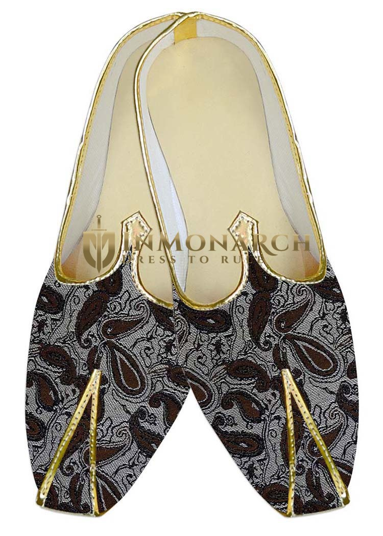 Mens Juti Silver Wedding Shoes Brown Paisley Sherwani Shoes
