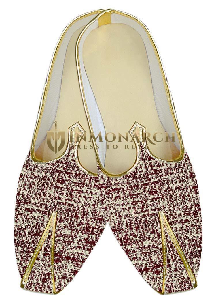 Mens Wedding ShoeFor Groom Beige and Maroon Wedding Indian BridalShoes
