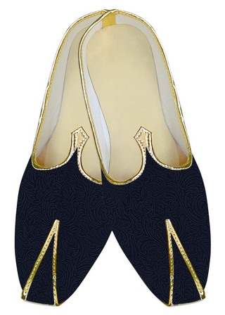 Mens Indian BridalShoes Dark Navy Indian Wedding Shoes Floral Pattern