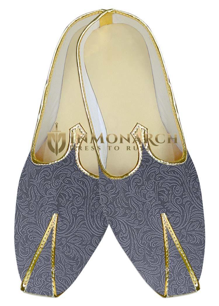 Indian MensShoes Aqua Blue Wedding Shoes Floral Pattern