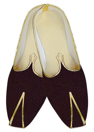 TraditionalShoes For Men Wine Wedding Shoes Flower Pattern Indian MensShoes