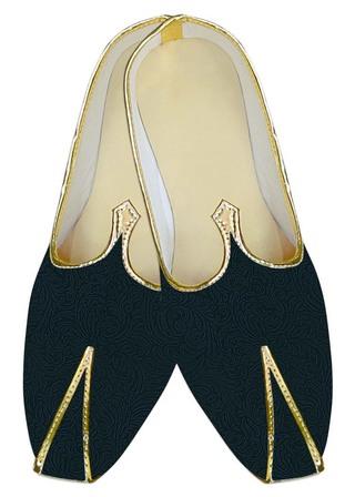 Indian MensShoes Teal Wedding Shoes Floral Design Groom Juti