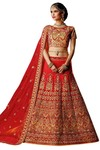 Crimson Red Silk Heavy Work Lehenga