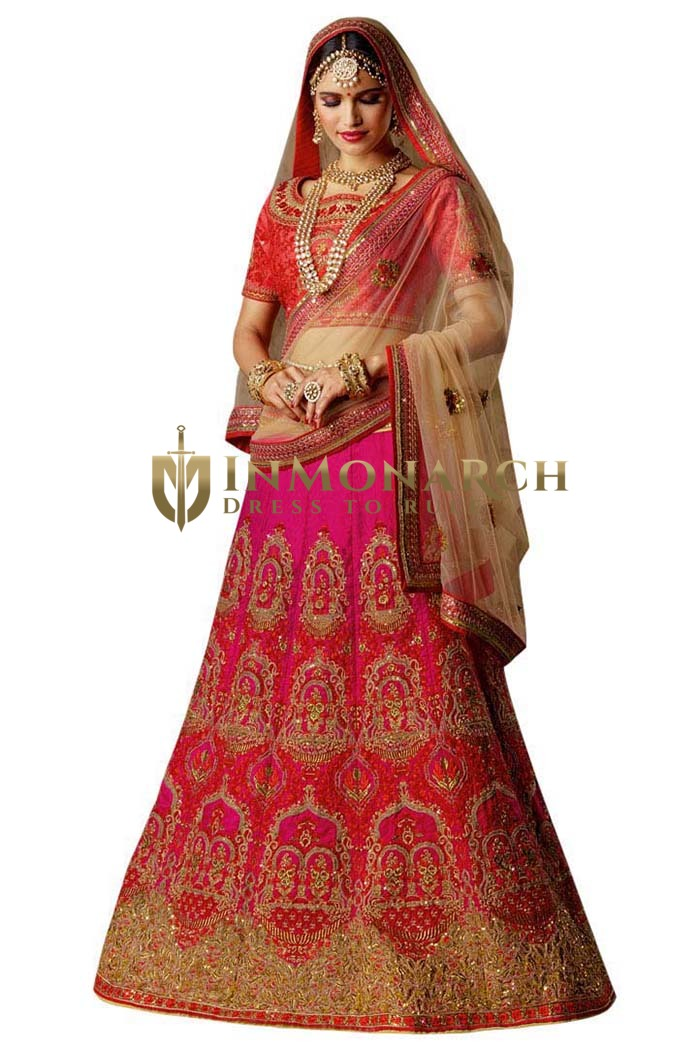 Embroidered Magenta Silk Lehenga Choli