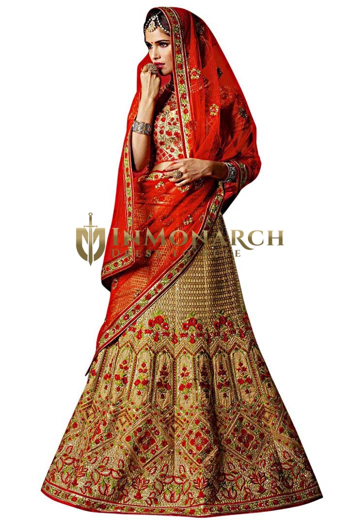 Heavy Designer Golden Silk Lehenga Choli
