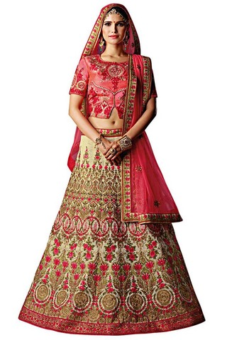 Cream Gujrati Silk Bridal Lehenga Choli
