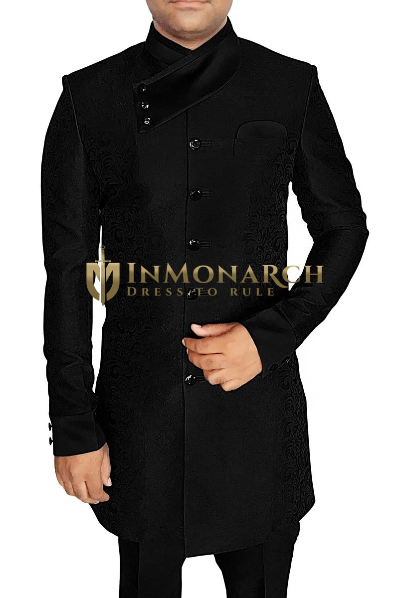 Mens Black Sherwani kurta for jeans Indowestern Angrakha Look
