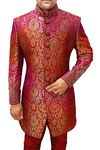 Mens Wedding Sherwani Crimson and Magenta Indowestern Embroidered