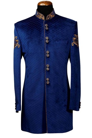 Indian Wedding Clothes for Men Blue Indowestern Suit Thread Embroidered