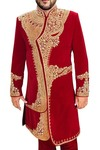 Sherwani for Men Wedding Crimson Indowestern Hand Work Sherwani
