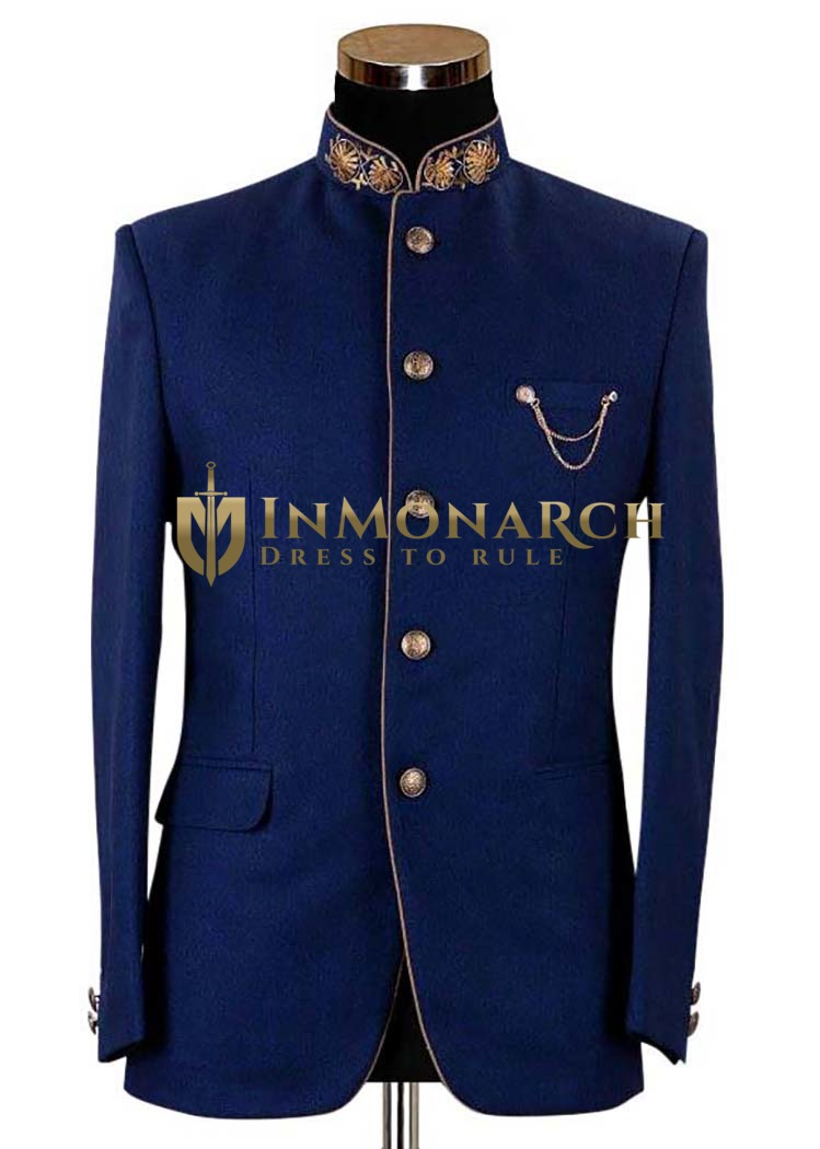 Mens Slim fit Casual Dark Navy Polyester Blazer sport jacket coat Golden Piping