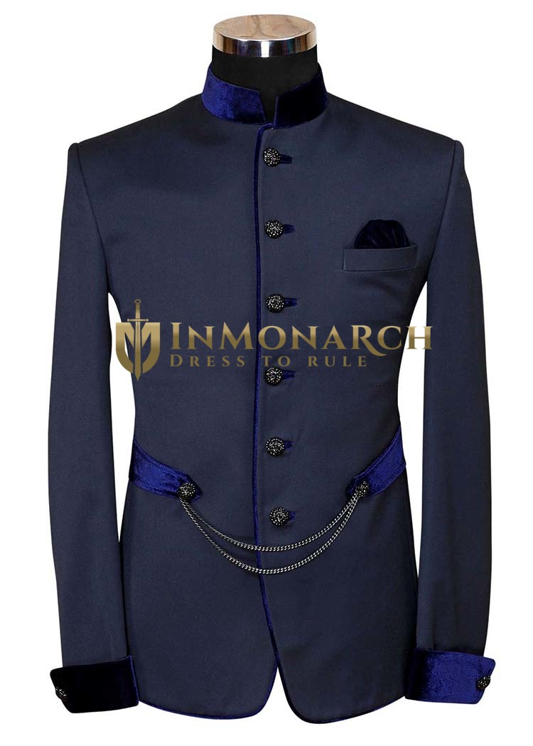 Mens Slim fit Casual Dark Navy Polyester Blazer sport jacket coat Velvet Piping