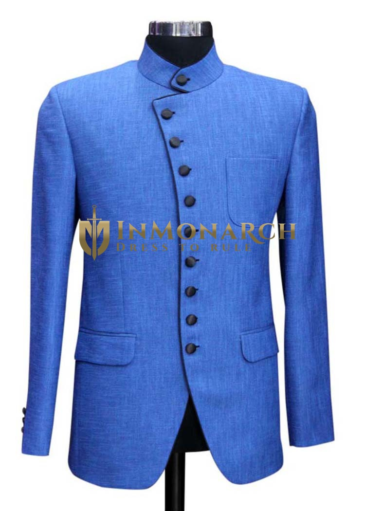 Mens Slim fit Casual Sky Blue Linen Blazer sport jacket coat Partywear