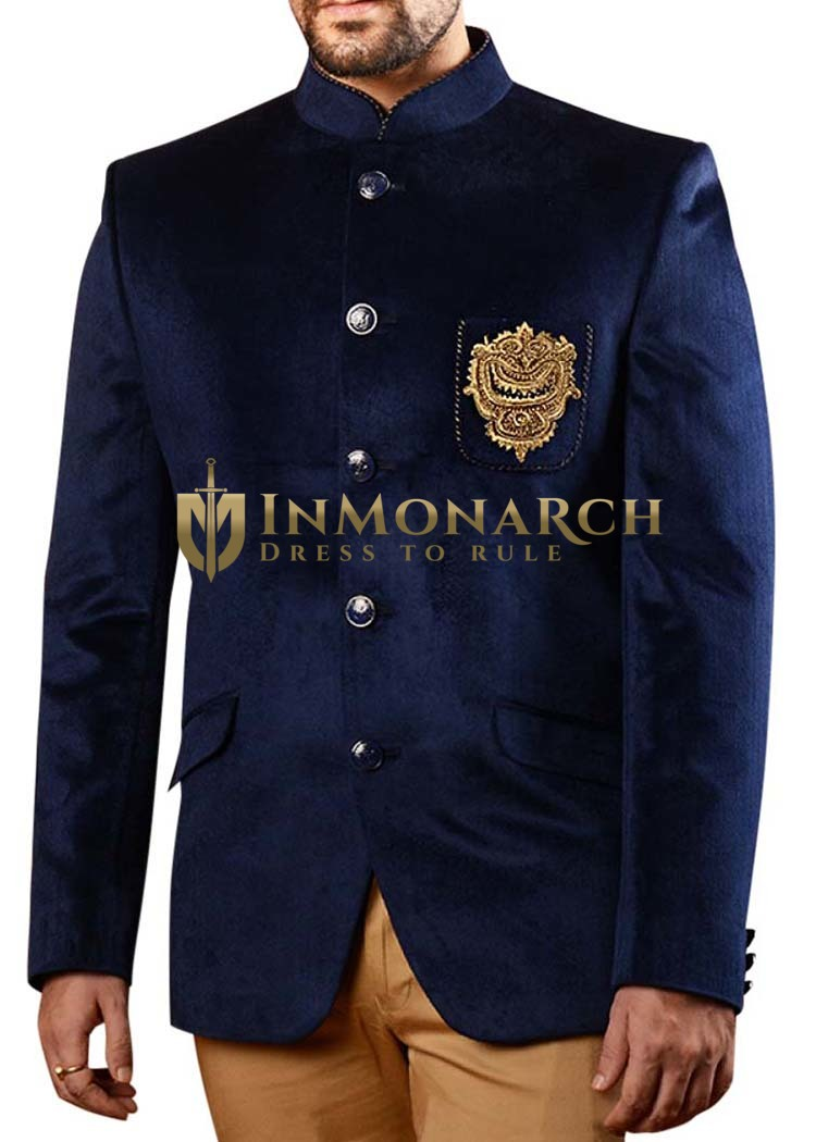 Mens Slim fit Casual Navy Blue Velvet Blazer sport jacket coat Embroidery Work