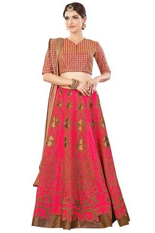 Crimson Dual Tone Silk Designer Lehenga