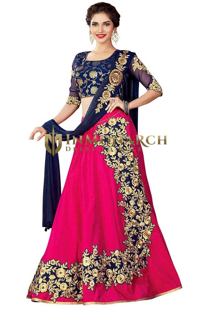 Purple Dual Tone Silk Indian Lehenga Choli