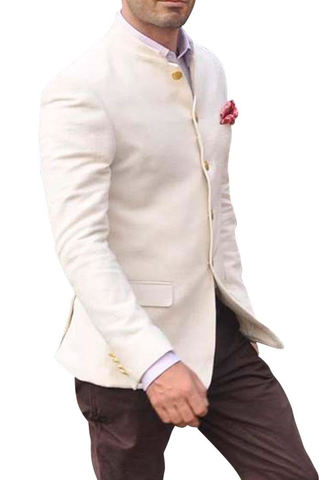 Mens Cream Wool 3 Pc Jodhpuri Suit With Breeches Pant