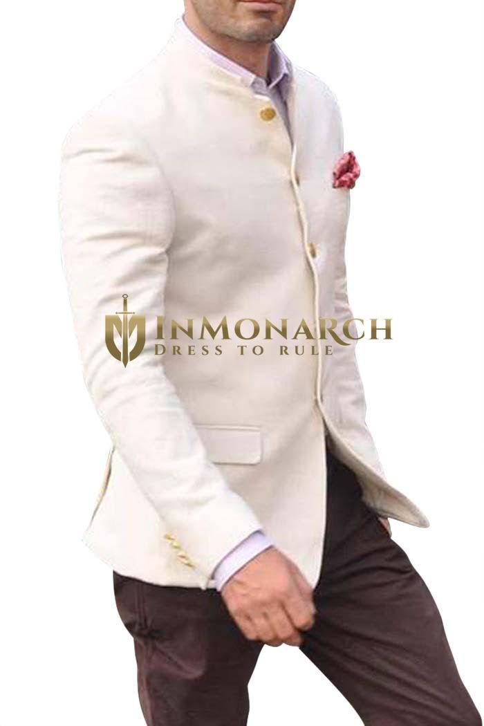 Mens Cream Wool 3 Pc Jodhpuri Suit With Breeches Pant