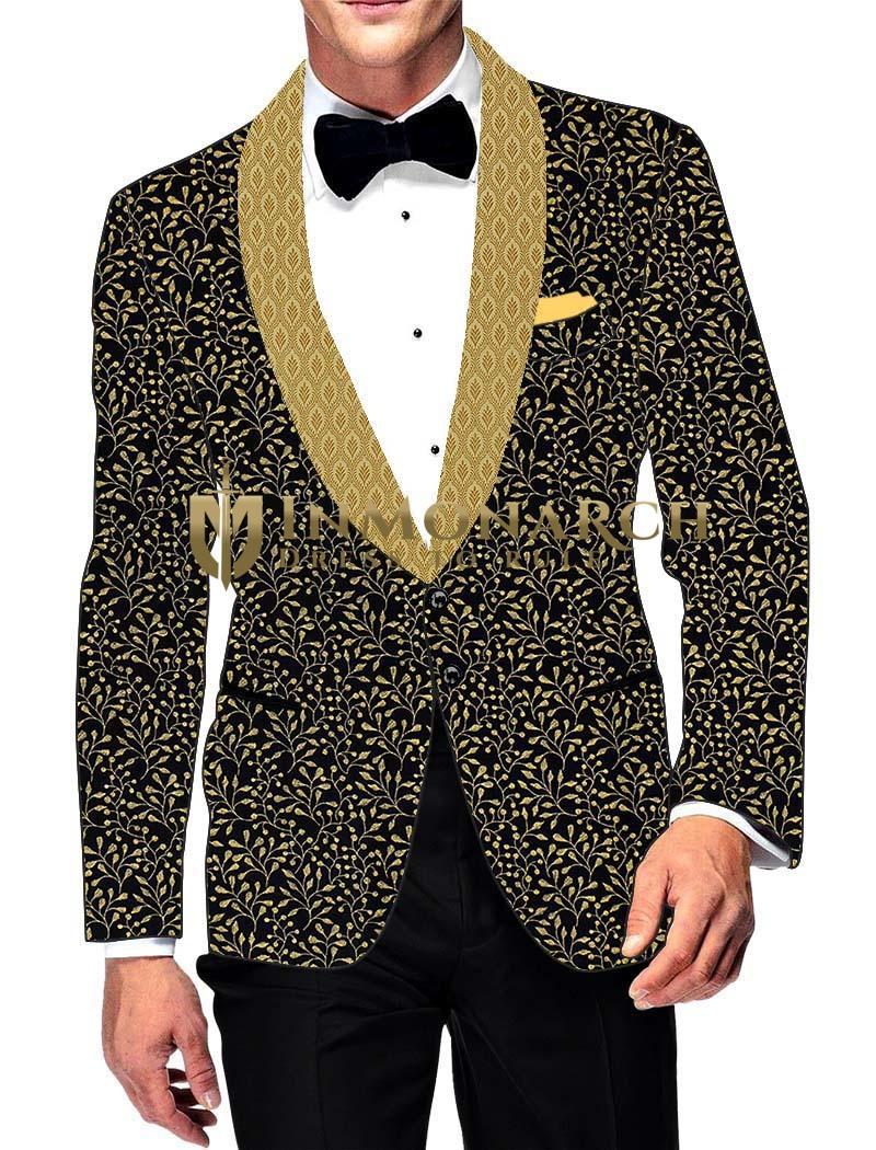 Mens Slim fit Casual Black Cotton Printed Blazer sport jacket coat Golden Floral