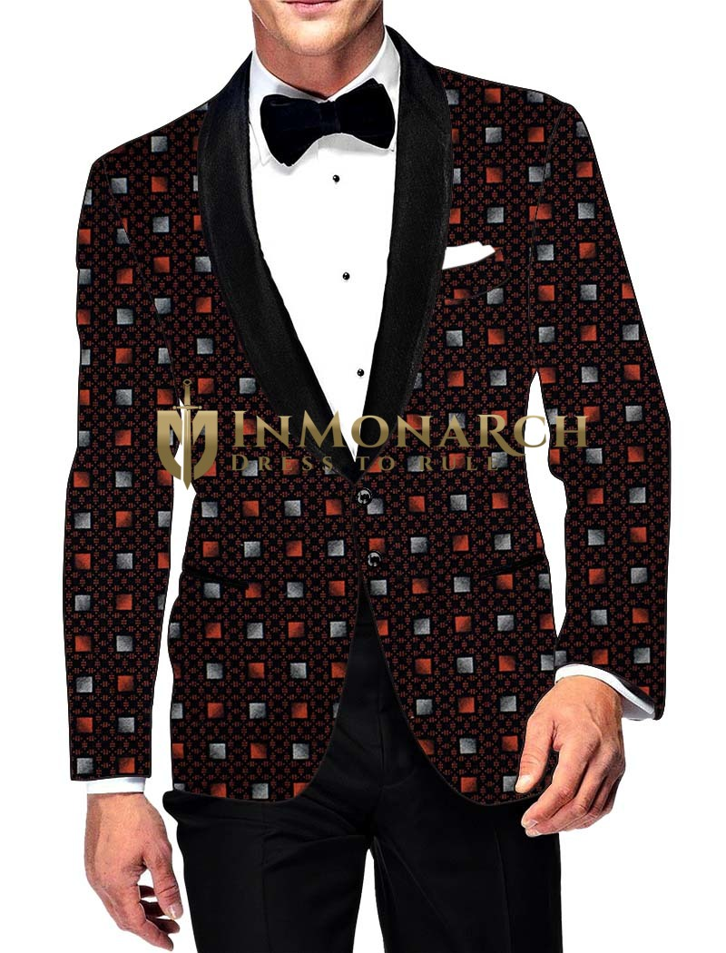 Mens Slim fit Casual Wine Cotton Blazer sport jacket coat Box Print