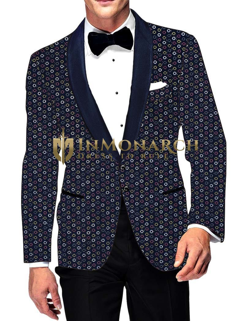 Mens Slim fit Casual Dark Navy Cotton Blazer sport jacket coat Circle Printed