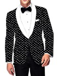 Mens Slim fit Casual Black Cotton Blazer sport jacket coat White Triangular Print