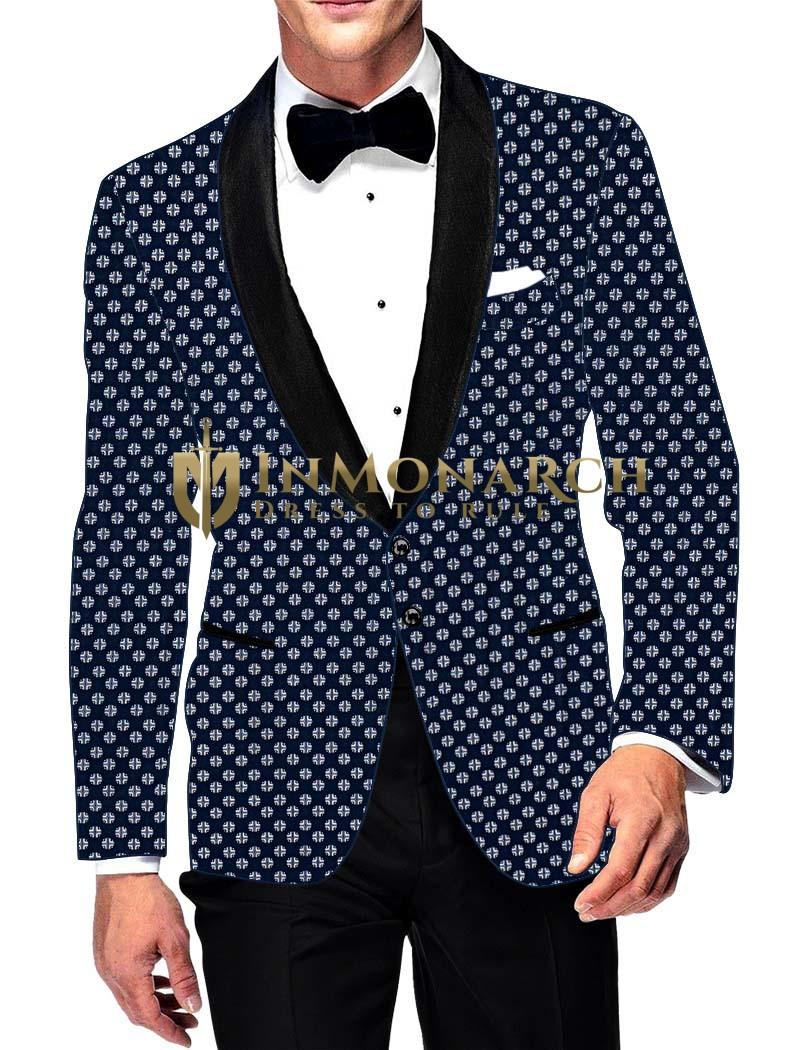 Mens Slim fit Casual Blue Cotton Blazer sport jacket coat White Design Print