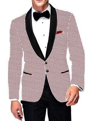 Mens Slim fit Casual White Cotton Blazer sport jacket coat Red Desh Print