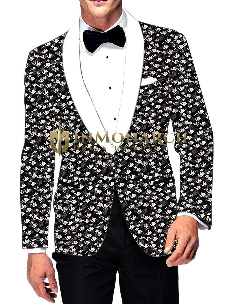 Mens Slim fit Casual Black Cotton Printed Blazer sport jacket coat Hawaiian