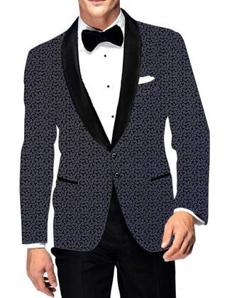 Mens Slim fit Dark Navy Cotton Blazer sport jacket coat Paisley Design