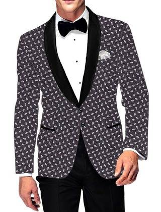 Mens Slim fit Casual Purple Wine Blazer sport jacket coat Printed White Designs