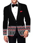 Mens Slim fit Casual Black Cotton Blazer sport jacket coat Half Design Printed