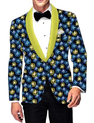Mens Slim fit Casual Black Cotton Blazer sport jacket coat Mulitcolor Flower Print