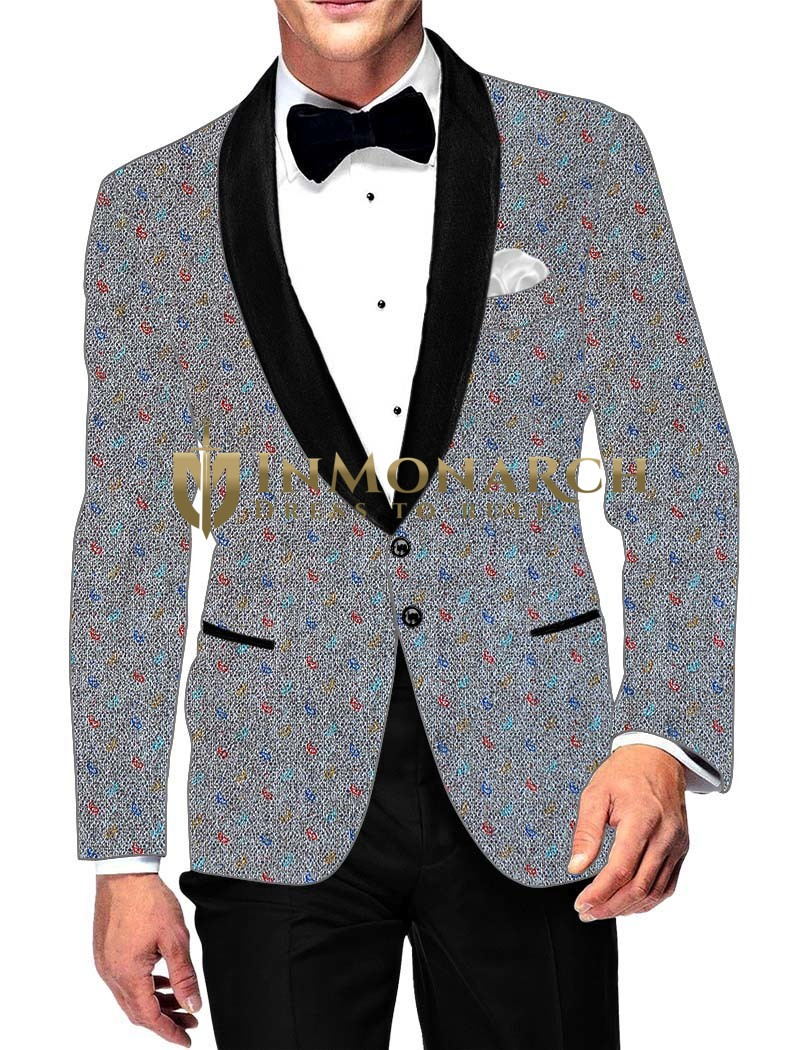 Mens Slim fit Casual Silver Color Cotton Printed Blazer sport jacket coat