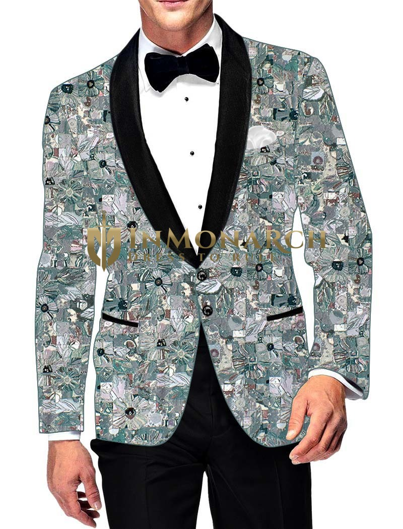 Mens Slim fit Casual Cyan Cotton Blazer sport jacket coat Printed Two Button
